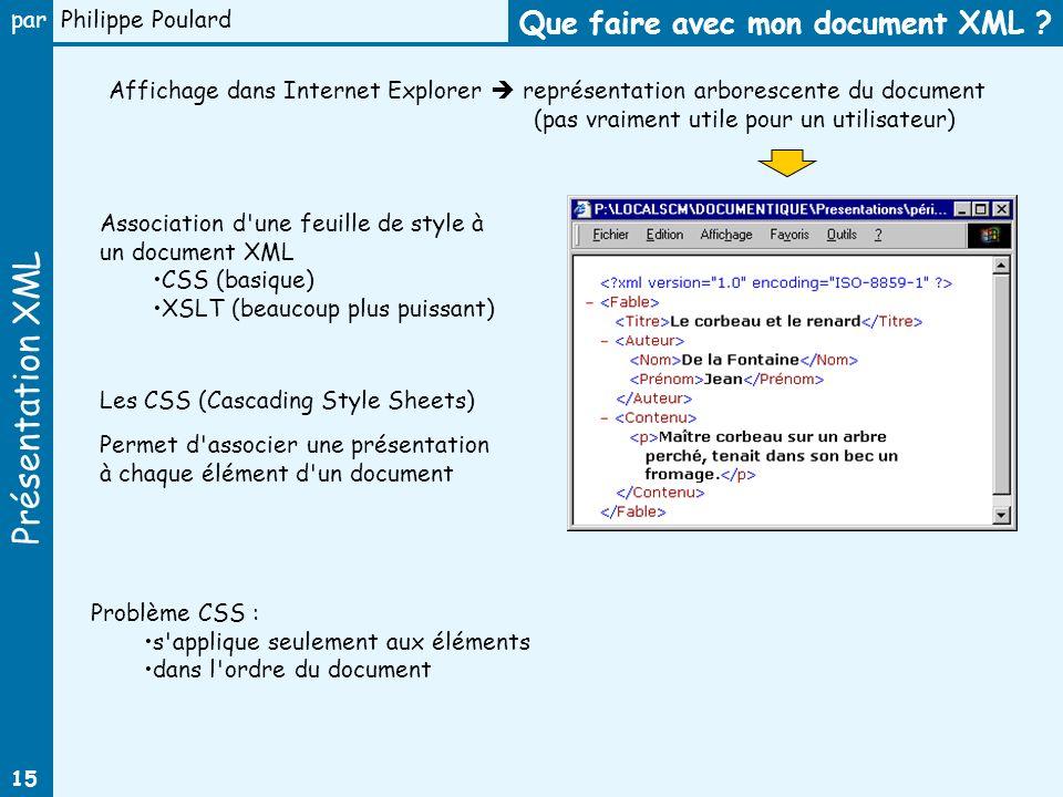 Que faire avec mon document XML