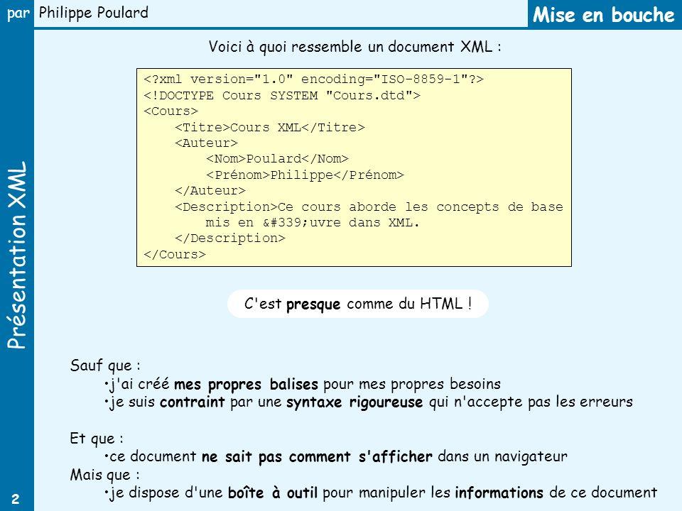 Mise en bouche Voici à quoi ressemble un document XML :