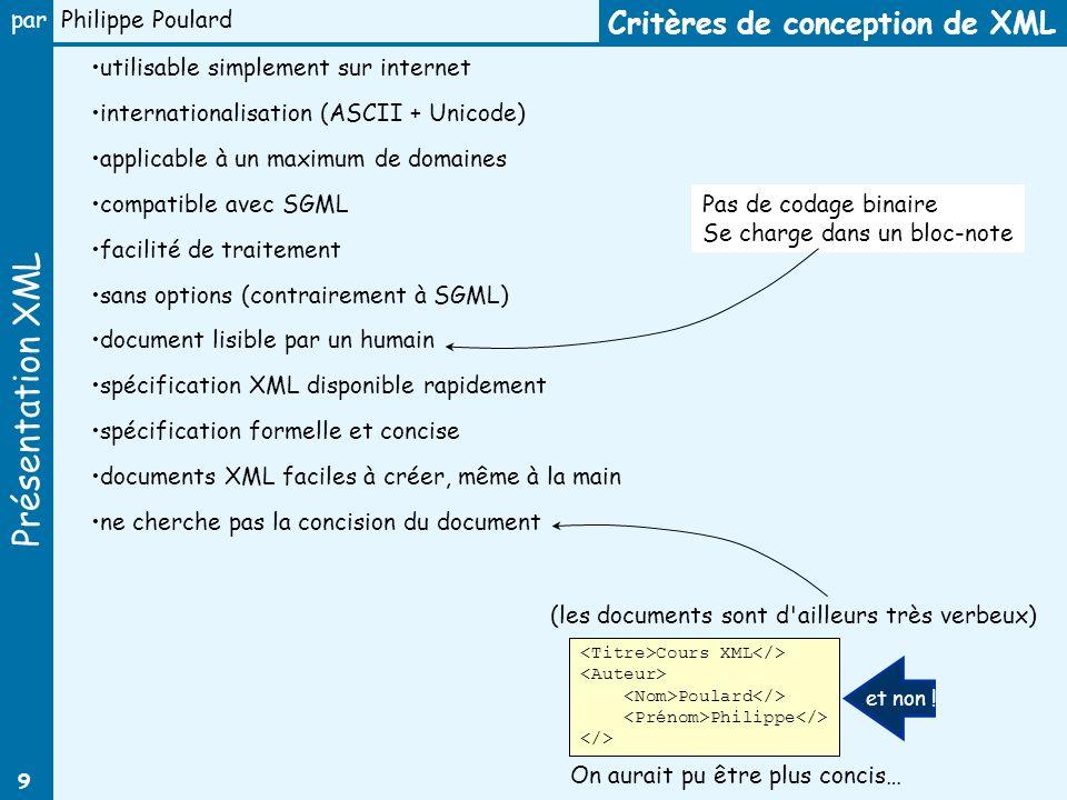 Critères de conception de XML