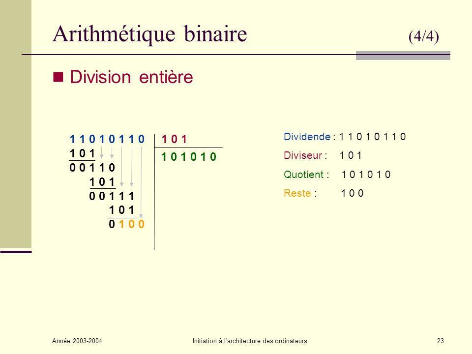 Arithmétique binaire (4/4)