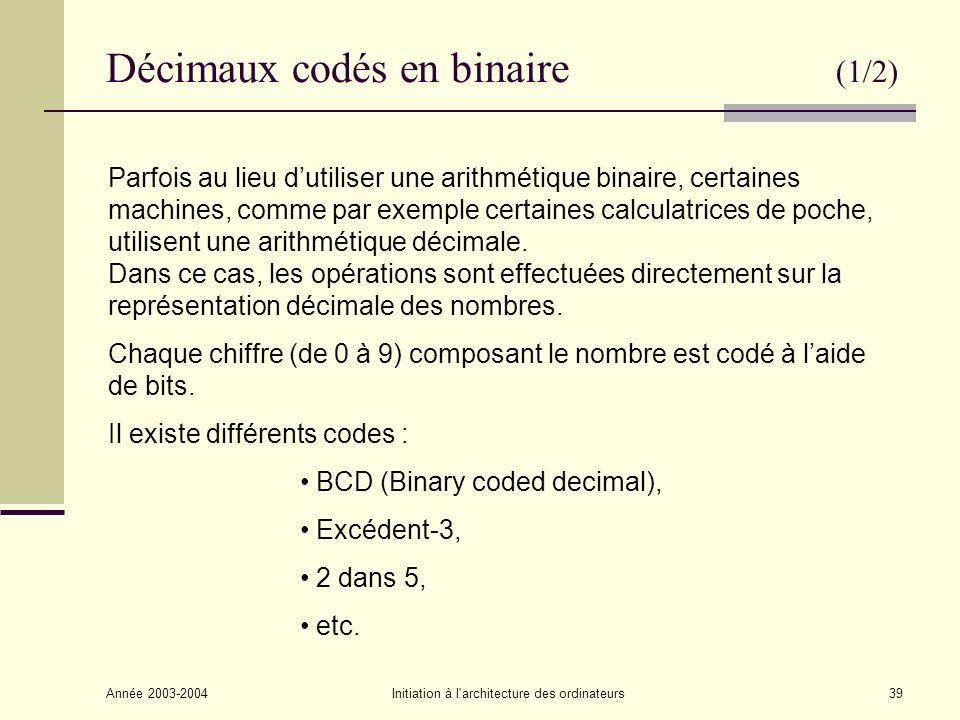 Décimaux codés en binaire (1/2)