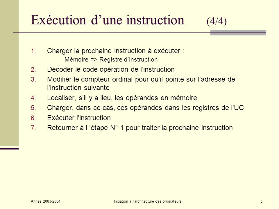 Exécution d'une instruction (4/4)