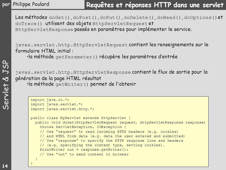 Requêtes et réponses HTTP dans une servlet