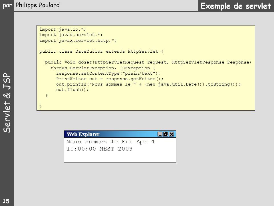 Exemple de servlet Nous sommes le Fri Apr 4 10:00:00 MEST 2003