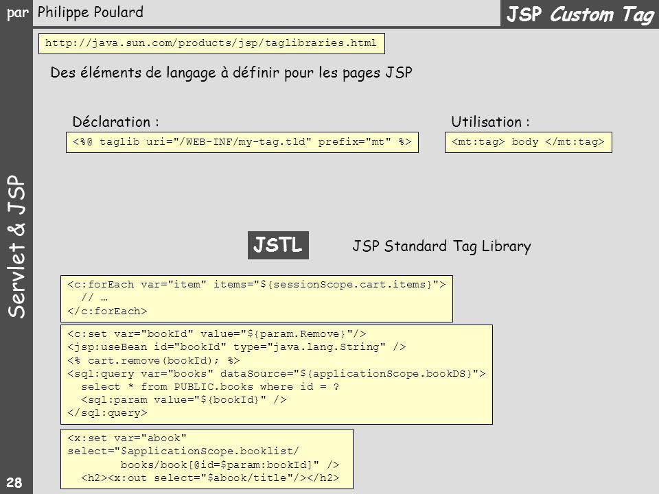 JSP Custom Tag http://java.sun.com/products/jsp/taglibraries.html. Des éléments de langage à définir pour les pages JSP.