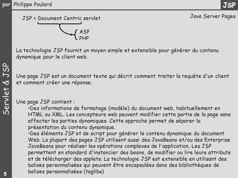 JSP Java Server Pages JSP = Document Centric servlet ASP PHP