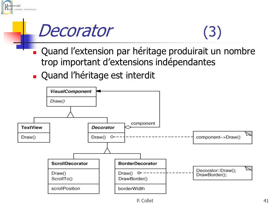 Decorator (3)Quand l'extension par héritage produirait un nombre trop important d'extensions indépendantes.