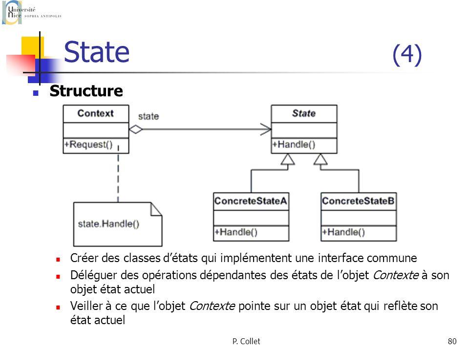 State (4) Structure. Créer des classes d'états qui implémentent une interface commune.