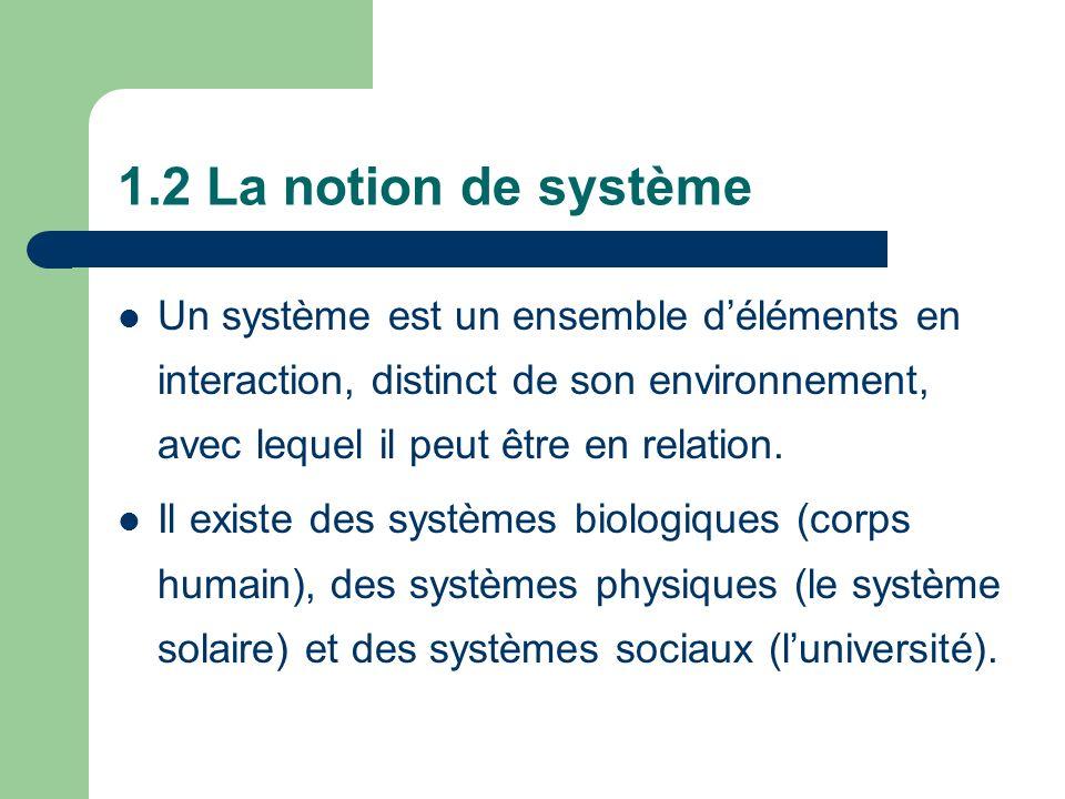 1.2 La notion de système Un système est un ensemble d'éléments en interaction, distinct de son environnement, avec lequel il peut être en relation.
