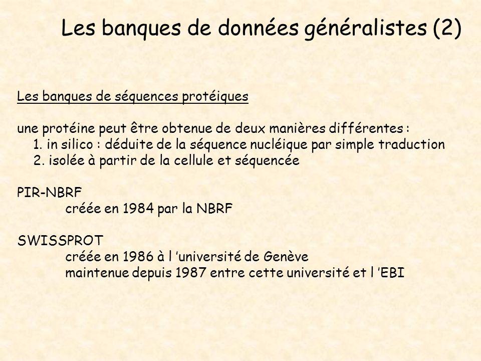 Les banques de données généralistes (2)