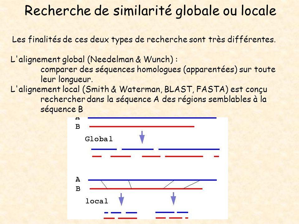 Recherche de similarité globale ou locale