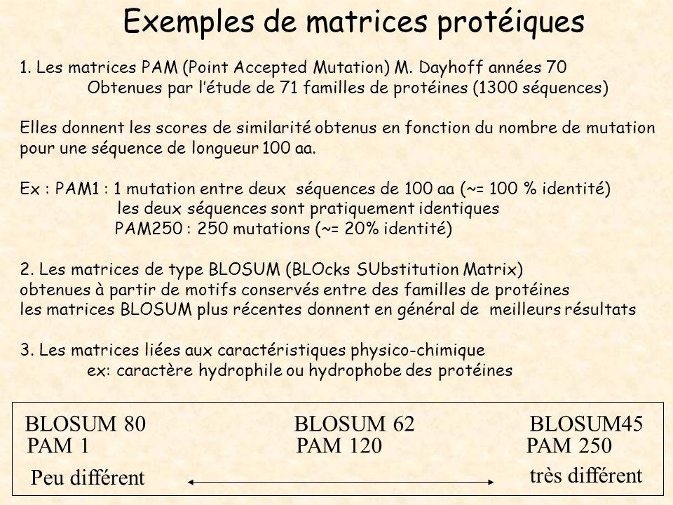 Exemples de matrices protéiques