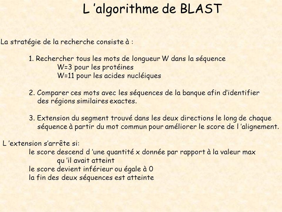 L 'algorithme de BLAST La stratégie de la recherche consiste à :