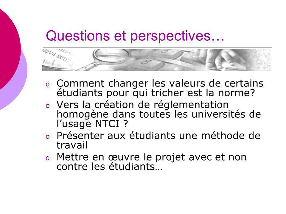 Questions et perspectives…