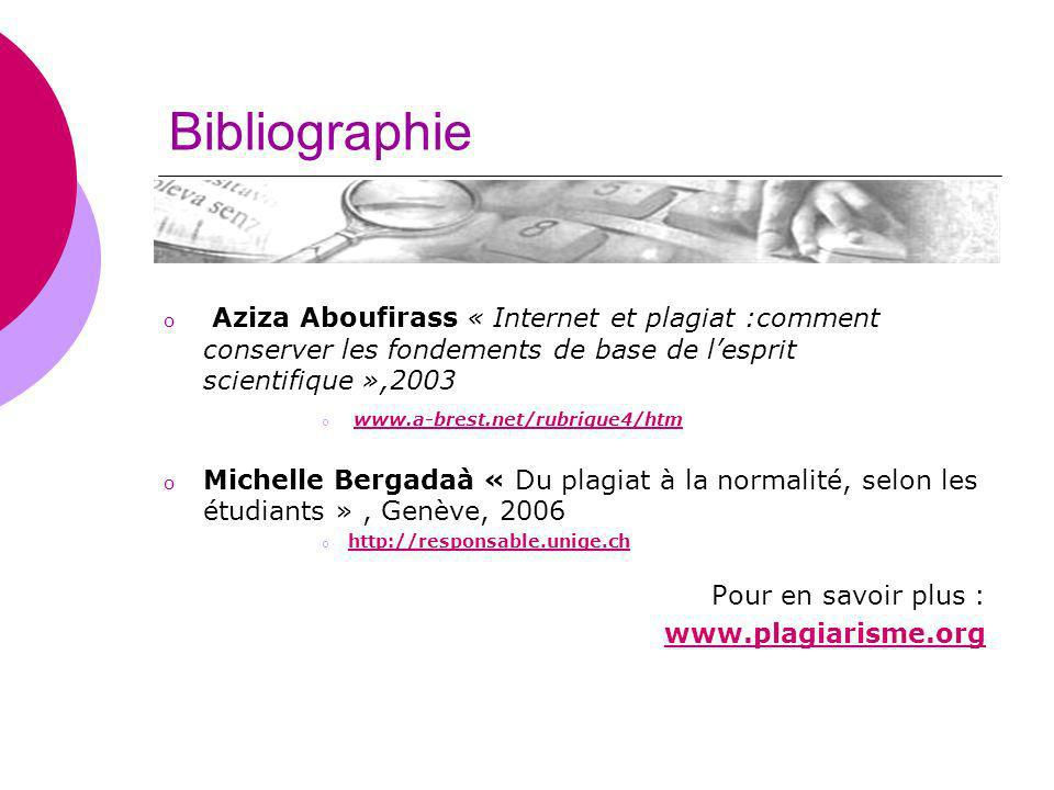 Bibliographie Aziza Aboufirass « Internet et plagiat :comment conserver les fondements de base de l'esprit scientifique »,2003.