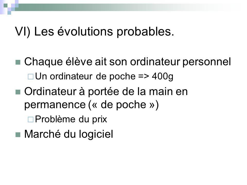 VI) Les évolutions probables.