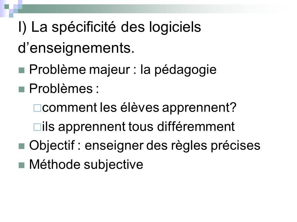 I) La spécificité des logiciels d'enseignements.