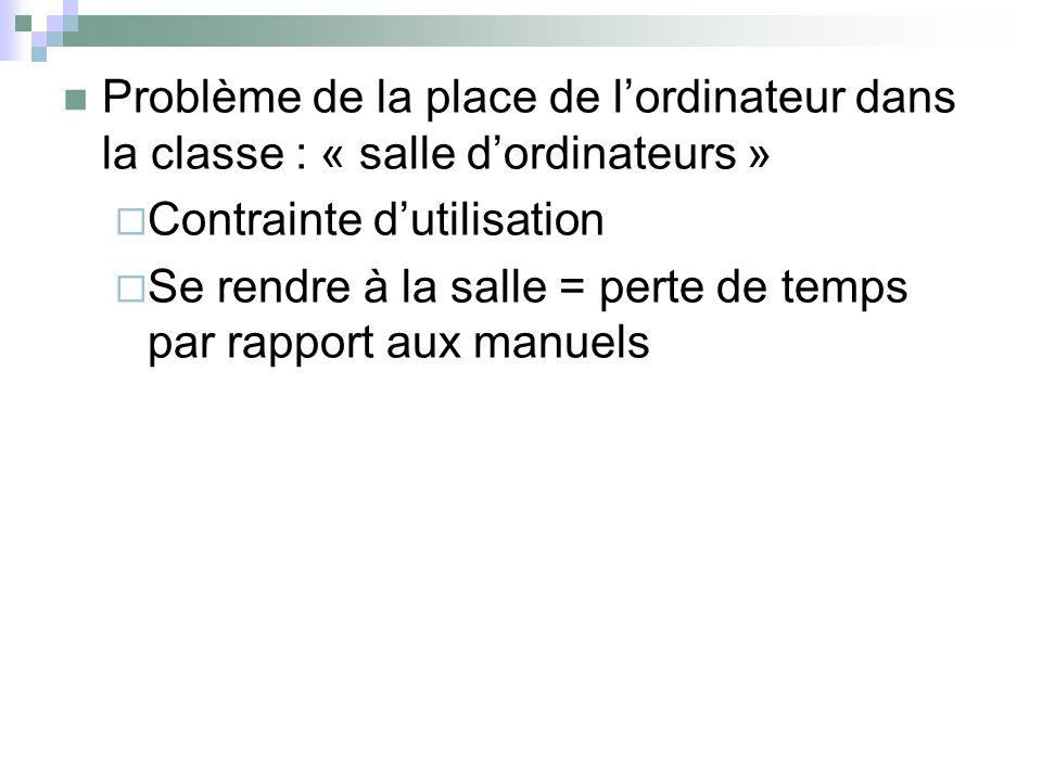 Problème de la place de l'ordinateur dans la classe : « salle d'ordinateurs »