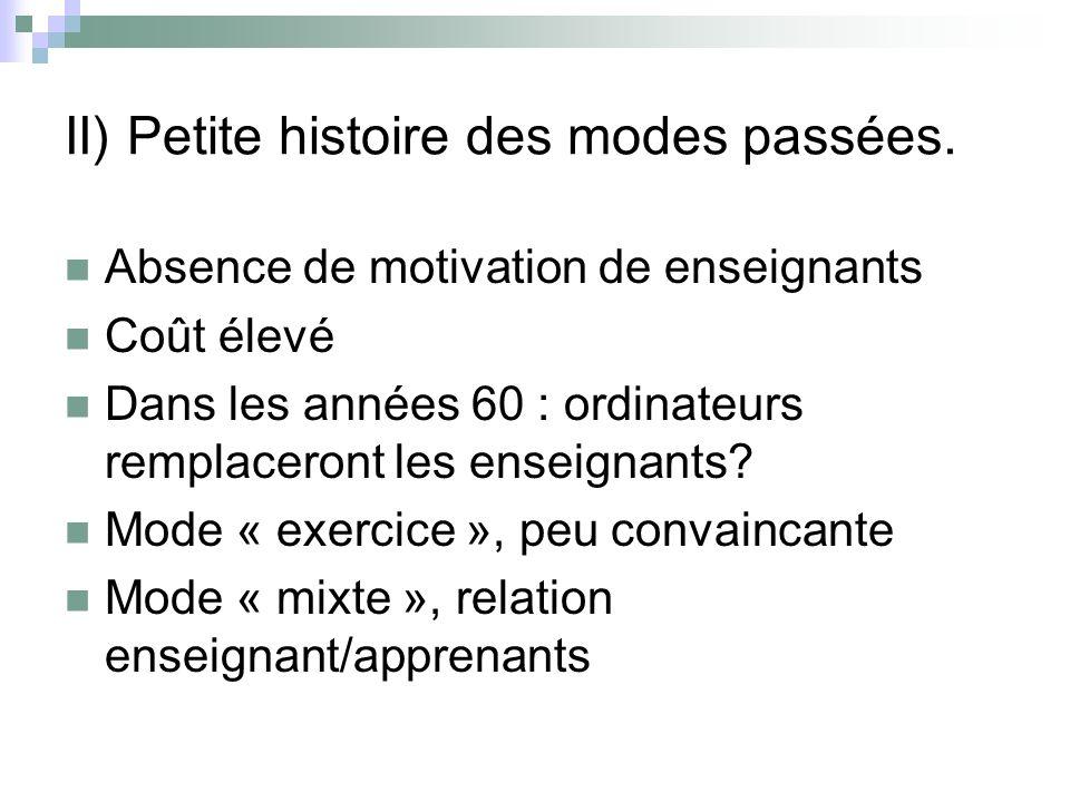 II) Petite histoire des modes passées.