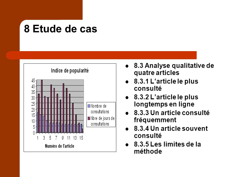 8 Etude de cas 8.3 Analyse qualitative de quatre articles