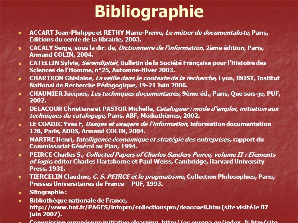 Bibliographie ACCART Jean-Philippe et RETHY Marie-Pierre, Le métier de documentaliste, Paris, Editions du cercle de la librairie, 2003.