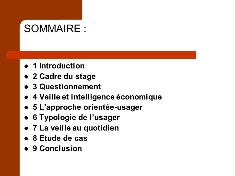 SOMMAIRE : 1 Introduction 2 Cadre du stage 3 Questionnement
