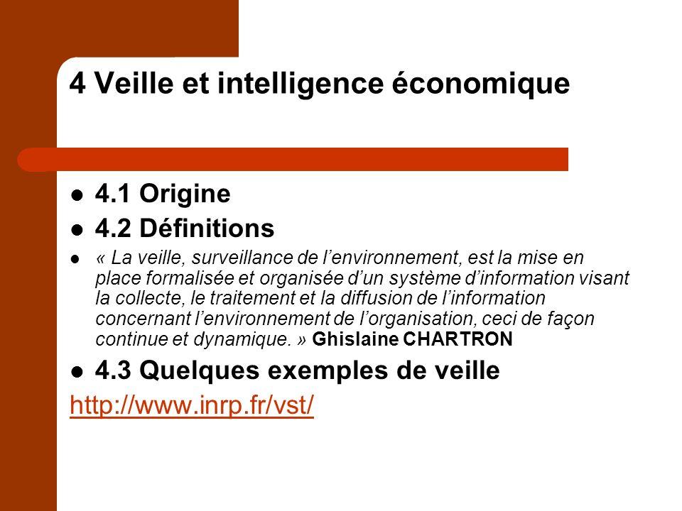4 Veille et intelligence économique