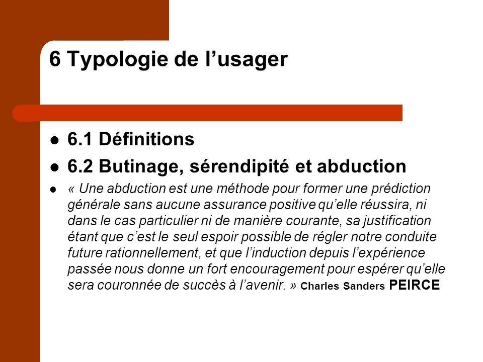 6 Typologie de l'usager 6.1 Définitions