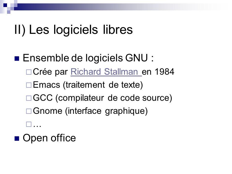 II) Les logiciels libres