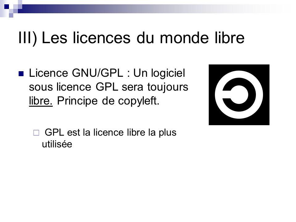 III) Les licences du monde libre