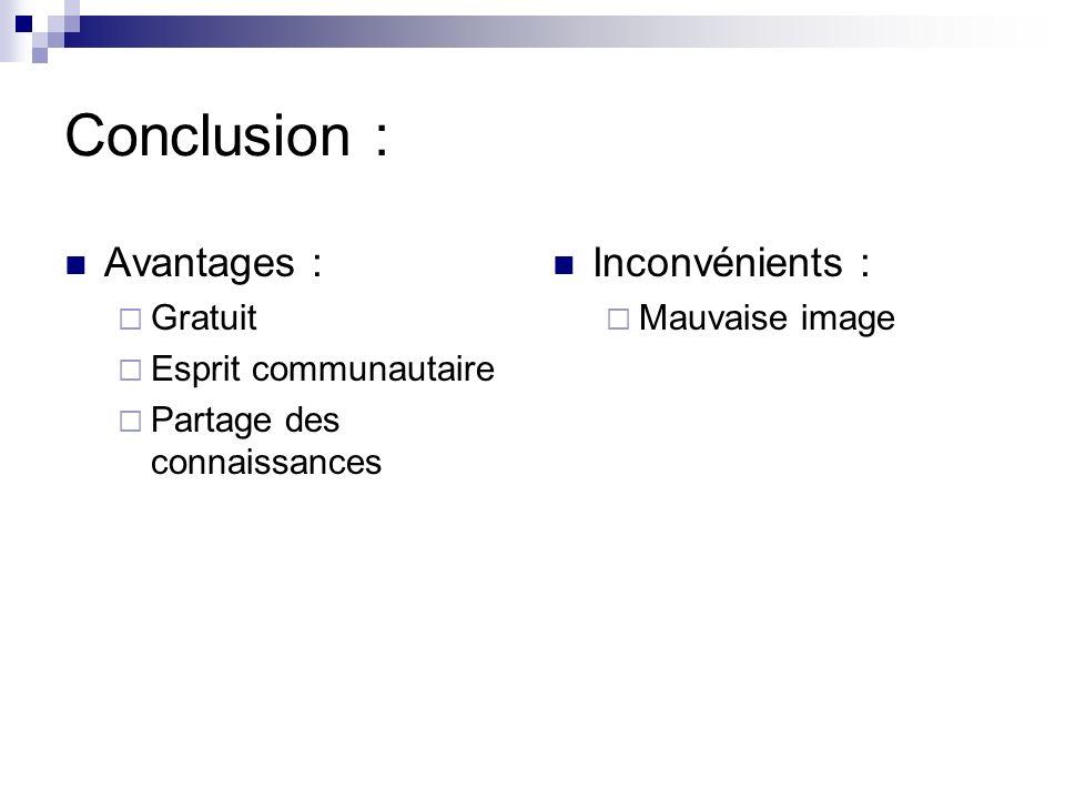 Conclusion : Avantages : Inconvénients : Gratuit Esprit communautaire
