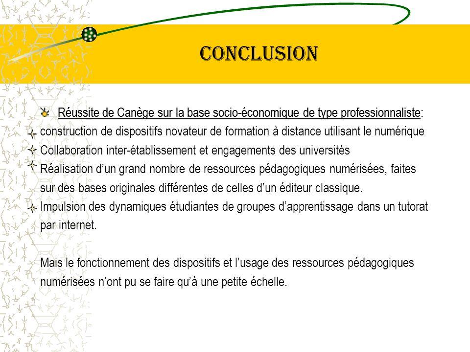conclusion Réussite de Canège sur la base socio-économique de type professionnaliste: