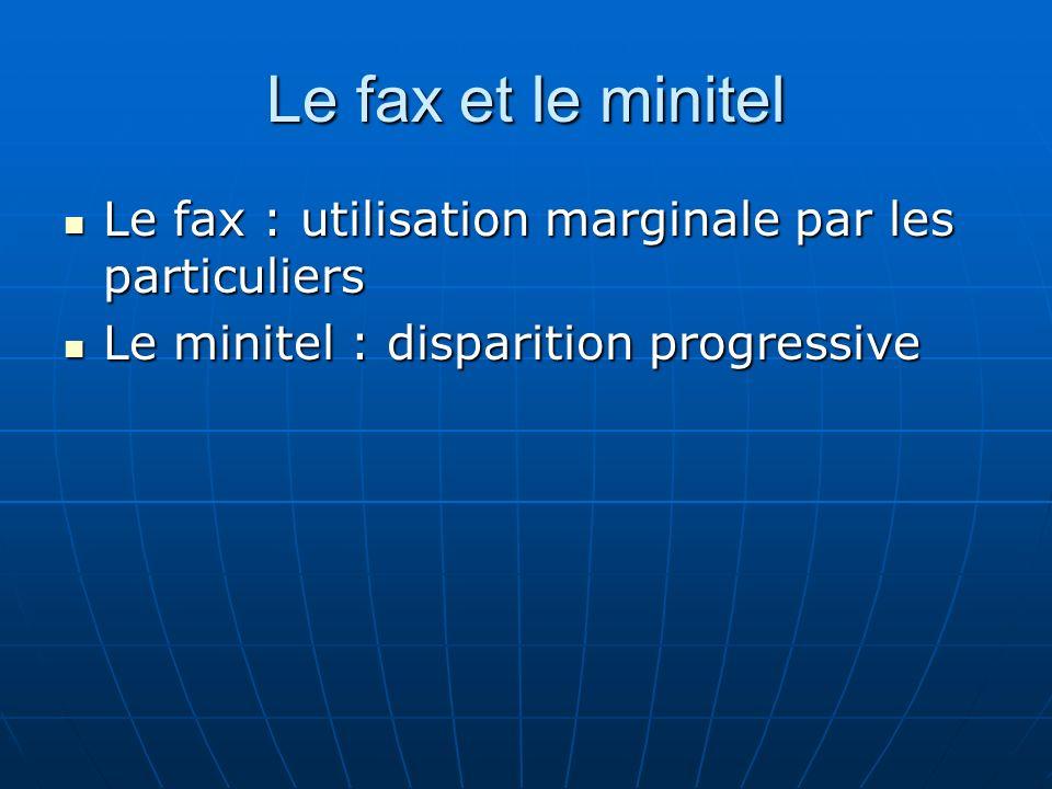 Le fax et le minitel Le fax : utilisation marginale par les particuliers.
