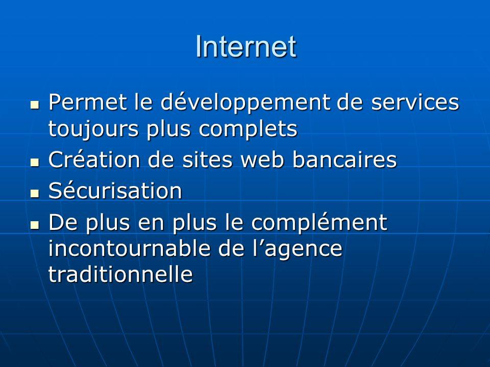 Internet Permet le développement de services toujours plus complets