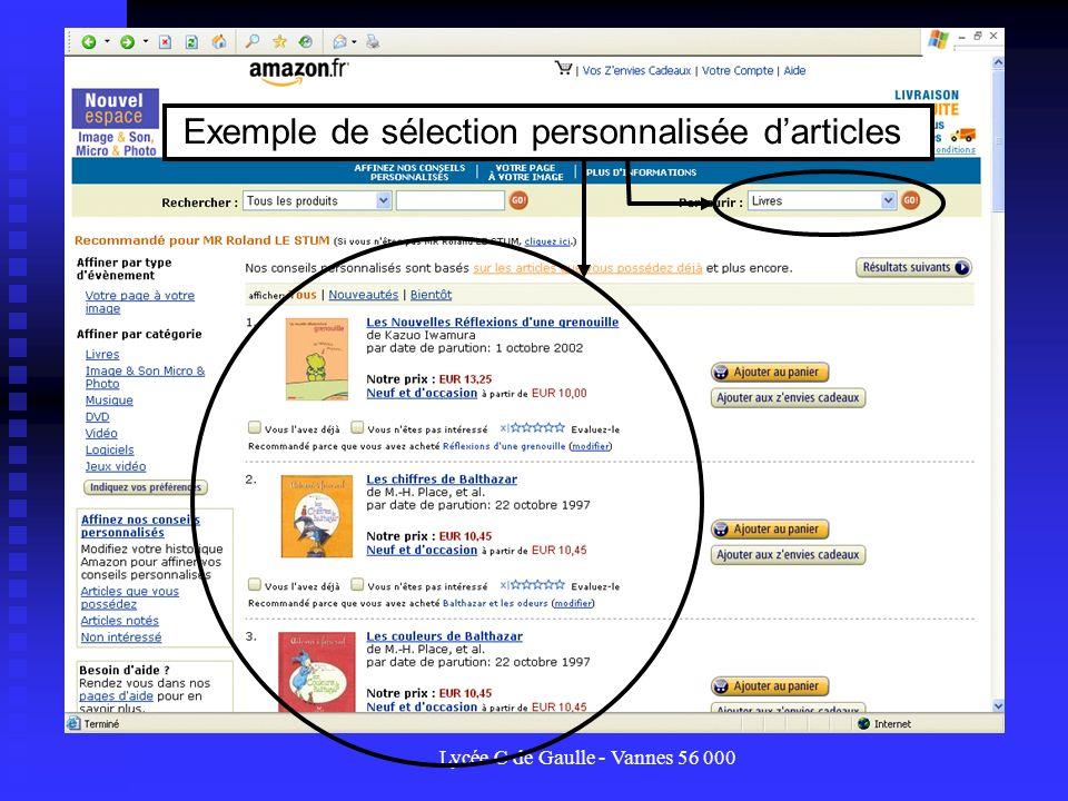 Exemple de sélection personnalisée d'articles