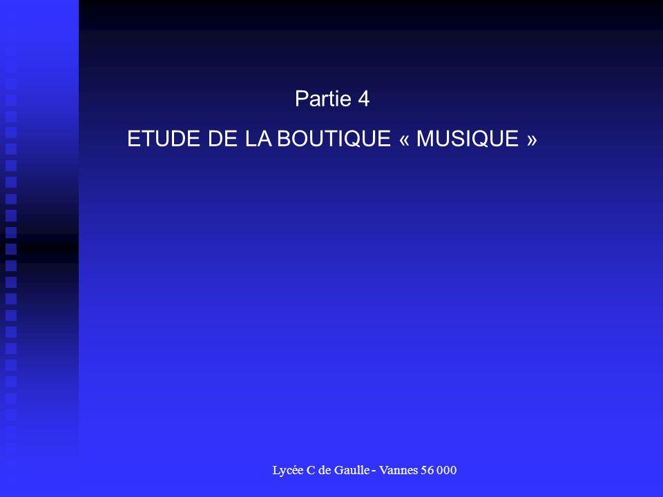 ETUDE DE LA BOUTIQUE « MUSIQUE »