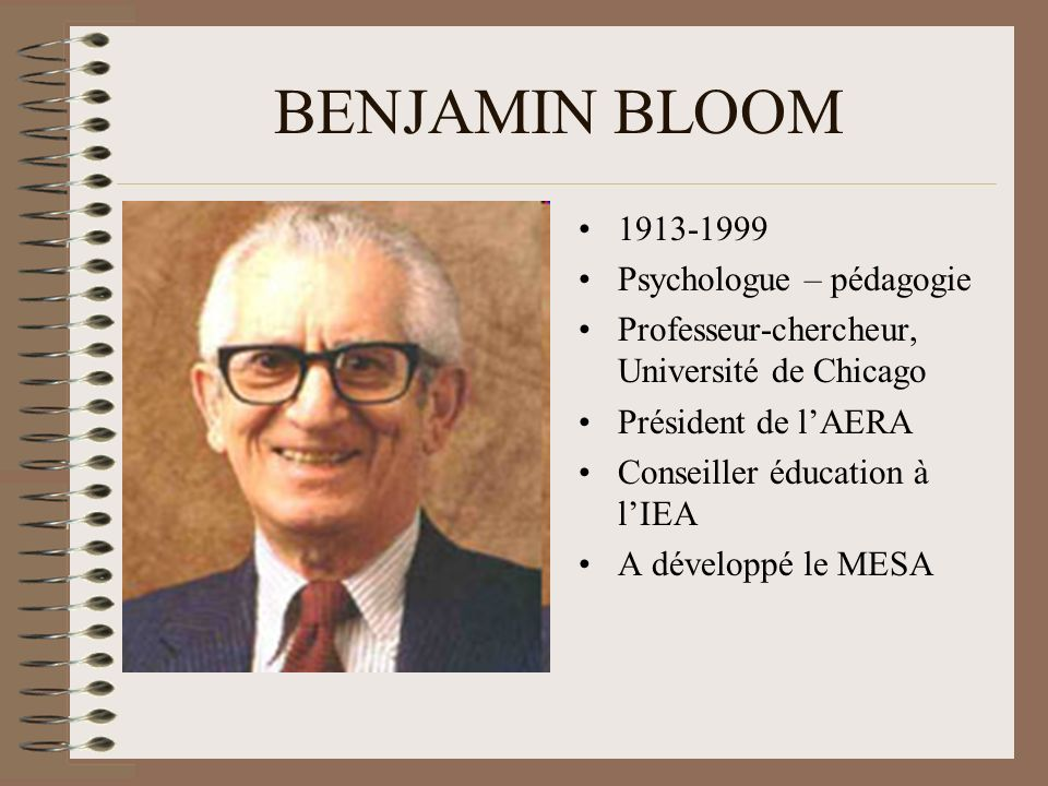 BENJAMIN BLOOM 1913-1999 Psychologue – pédagogie