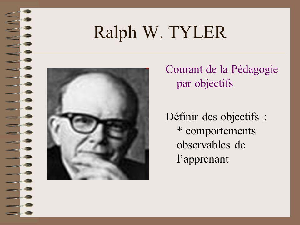 Ralph W. TYLER Courant de la Pédagogie par objectifs