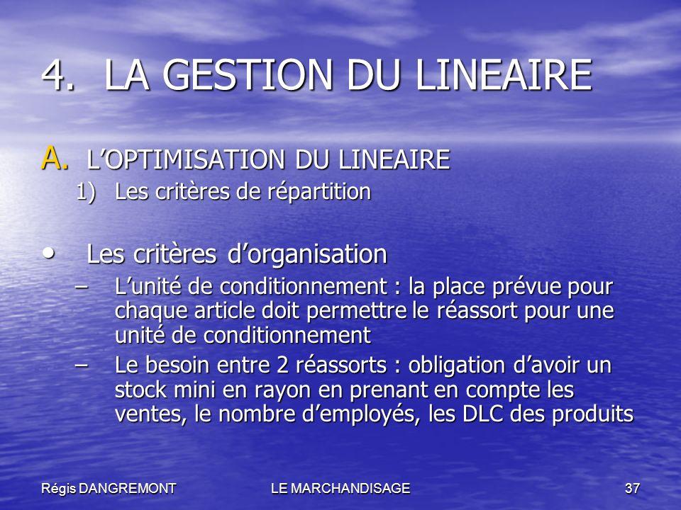 LA GESTION DU LINEAIRE L'OPTIMISATION DU LINEAIRE