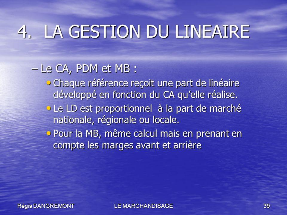 LA GESTION DU LINEAIRE Le CA, PDM et MB :