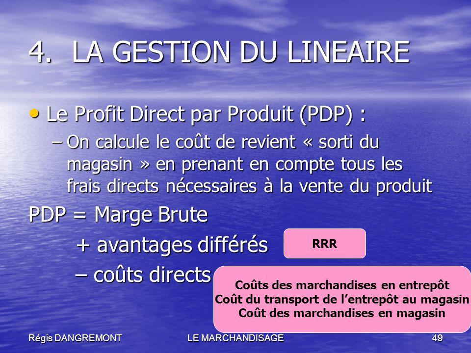 LA GESTION DU LINEAIRE Le Profit Direct par Produit (PDP) :