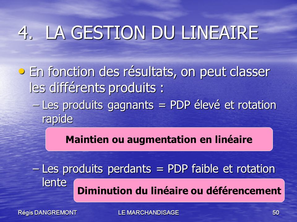 LA GESTION DU LINEAIREEn fonction des résultats, on peut classer les différents produits : Les produits gagnants = PDP élevé et rotation rapide.
