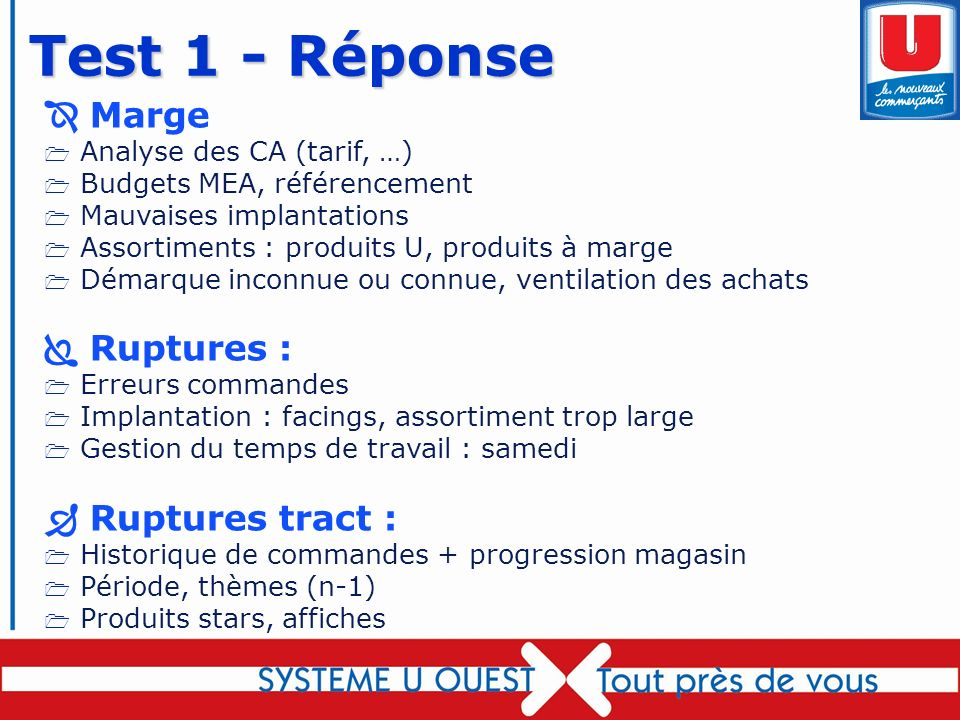 Test 1 - Réponse  Marge  Ruptures :  Ruptures tract :