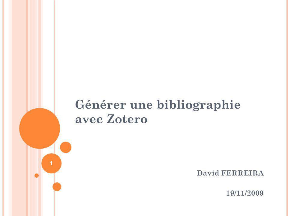 Générer une bibliographie avec Zotero