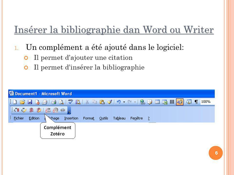 Insérer la bibliographie dan Word ou Writer
