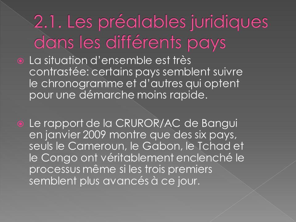 2.1. Les préalables juridiques dans les différents pays