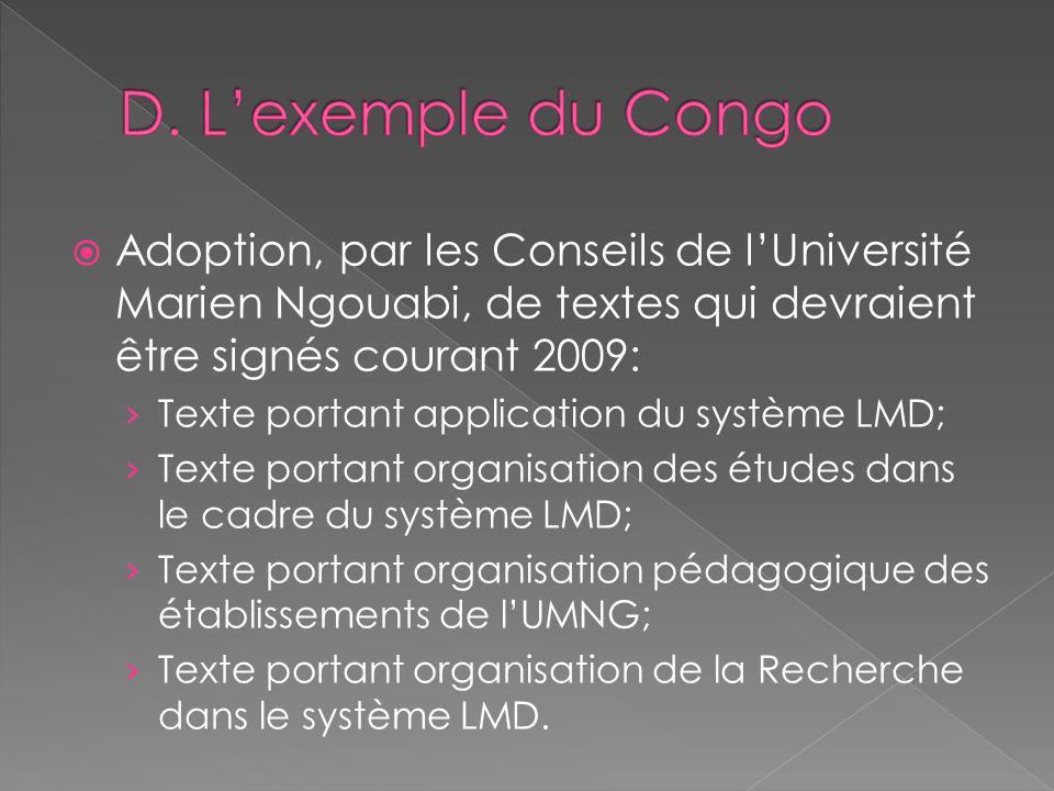 D. L'exemple du Congo Adoption, par les Conseils de l'Université Marien Ngouabi, de textes qui devraient être signés courant 2009:
