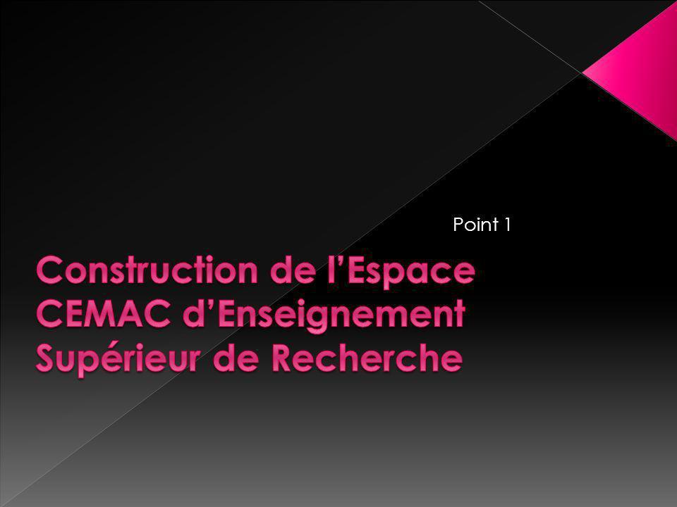 Construction de l'Espace CEMAC d'Enseignement Supérieur de Recherche
