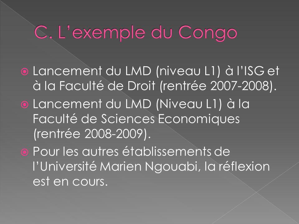 C. L'exemple du Congo Lancement du LMD (niveau L1) à l'ISG et à la Faculté de Droit (rentrée 2007-2008).