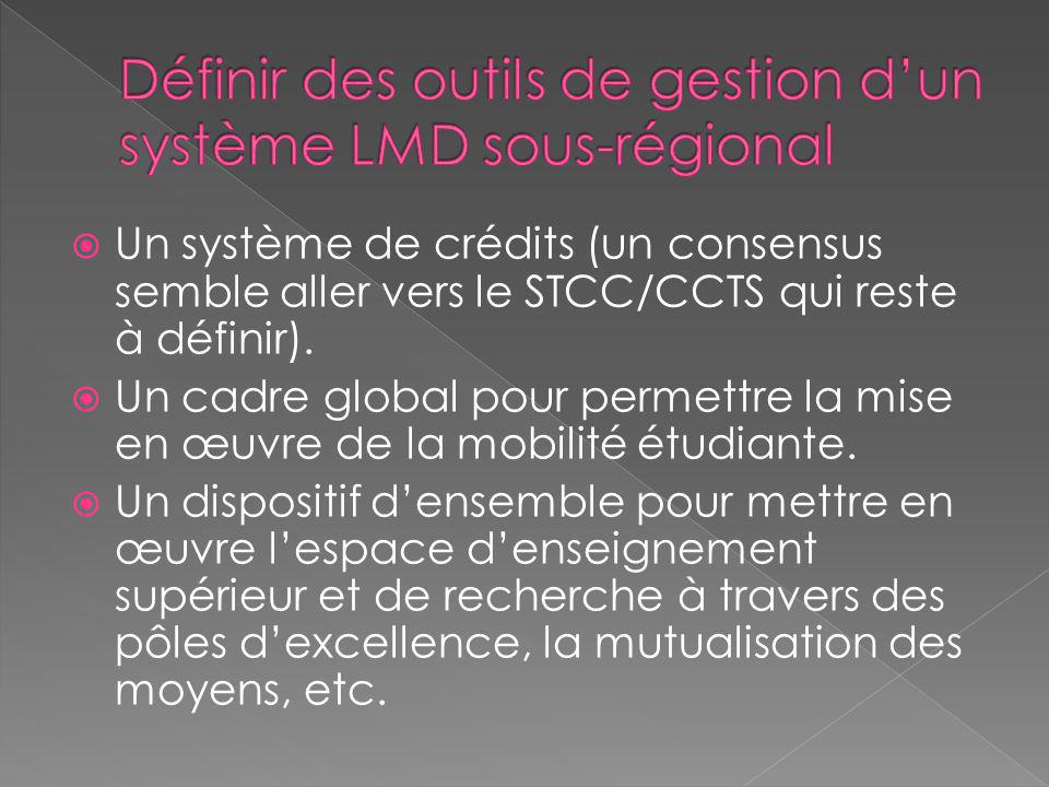Définir des outils de gestion d'un système LMD sous-régional